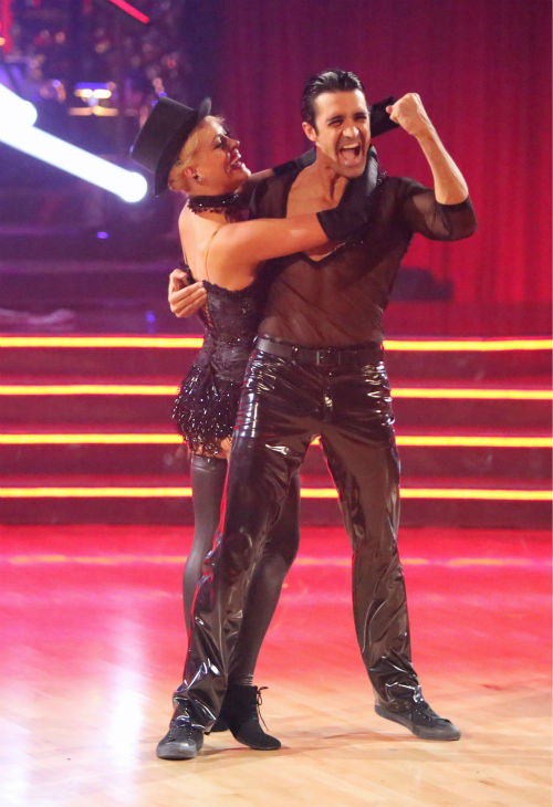 French actor Gilles Marini and his partner Peta Murgatroyd received 27.5 out of 30 points from the judges for their Cha Cha Cha on 'Dancing With The Stars: All-Stars,' which aired on October 29, 2012.