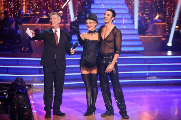 "<div class=""meta image-caption""><div class=""origin-logo origin-image ""><span></span></div><span class=""caption-text"">French actor Gilles Marini and his partner Peta Murgatroyd received 27.5 out of 30 points from the judges for their Cha Cha Cha on 'Dancing With The Stars: All-Stars,' which aired on October 29, 2012. (ABC Photo / Adam Taylor)</span></div>"