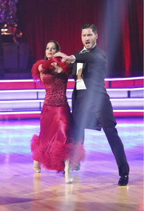 "<div class=""meta ""><span class=""caption-text "">'General Hospital' actress Kelly Monaco and her partner Valentin Chmerkovskiy received 27 out of 30 points from the judges for their Tango on 'Dancing With The Stars: All-Stars,' which aired on October 29, 2012. (ABC Photo / Adam Taylor)</span></div>"