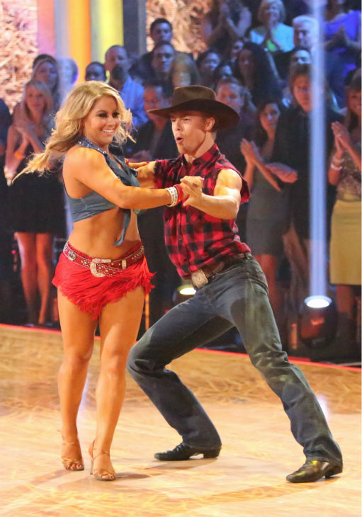 "<div class=""meta ""><span class=""caption-text "">Olympic gymnast Shawn Johnson and her partner Derek Hough received 28 out of 30 points from the judges for their Cha Cha Cha on 'Dancing With The Stars: All-Stars,' which aired on October 29, 2012.  (ABC Photo / Adam Taylor)</span></div>"