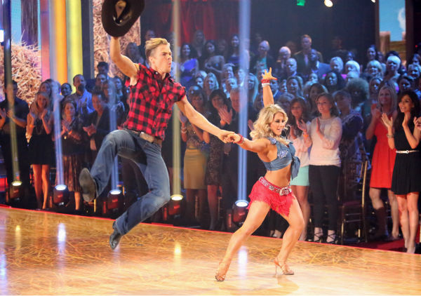 Olympic gymnast Shawn Johnson and her partner Derek Hough received 28 out of 30 points from the judges for their Cha Cha Cha on 'Dancing With The Stars: All-Stars,' which aired on October 29, 2012.