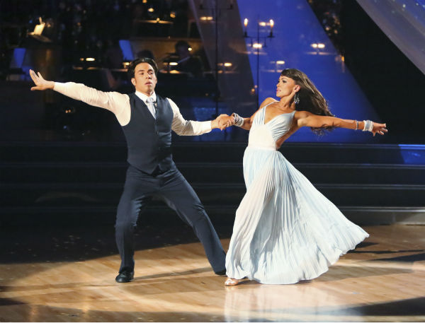 Olympic speed skater Apolo Anton Ohno and his partner Karina Smirnoff received 30 out of 30 points from the judges for their Viennese Waltz on &#39;Dancing With The Stars: All-Stars,&#39; which aired on October 29, 2012.  <span class=meta>(ABC Photo &#47; Adam Taylor)</span>