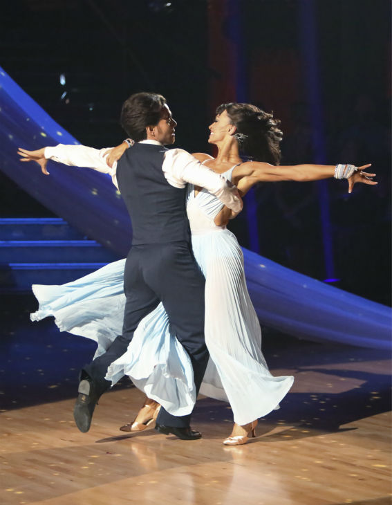 Olympic speed skater Apolo Anton Ohno and his partner Karina Smirnoff received 30 out of 30 points from the judges for their Viennese Waltz on 'Dancing With The Stars: All-Stars,' which aired on October 29, 2012.