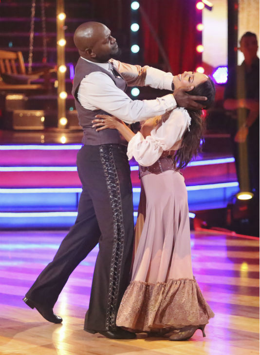 "<div class=""meta ""><span class=""caption-text "">Retired NFL star Emmitt Smith and his partner Cheryl Burke received 26.5 out of 30 points from the judges for their Foxtrot on 'Dancing With The Stars: All-Stars,' which aired on October 29, 2012. (ABC Photo / Adam Taylor)</span></div>"