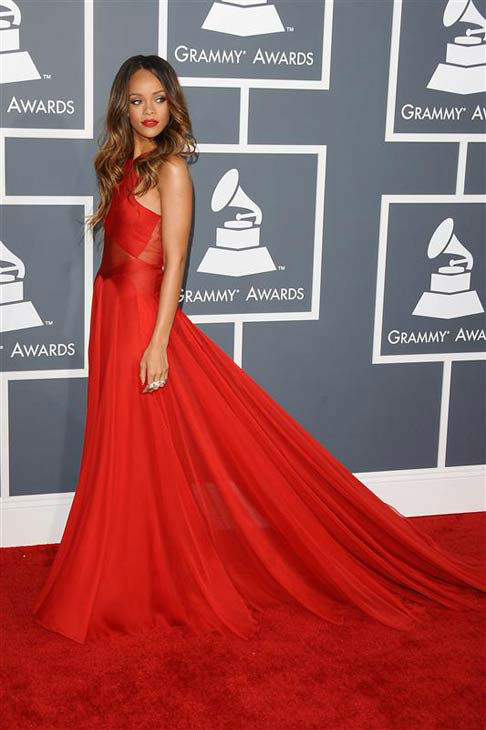 Rihanna appears at the 55th annual Grammy Awards in Los Angeles, California on Feb. 10, 2013.