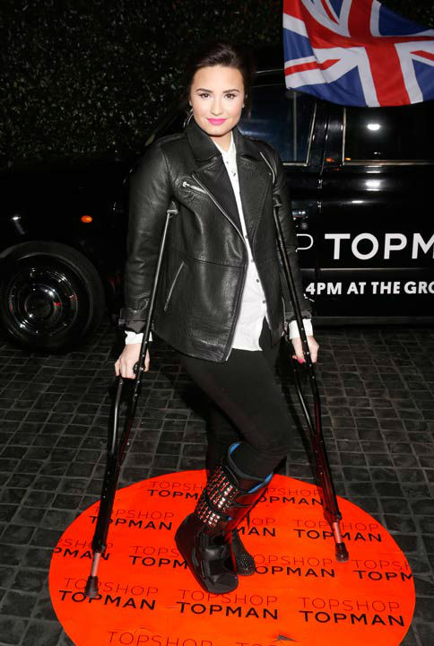 Demi Lovato attends the Topshop Topman LA...