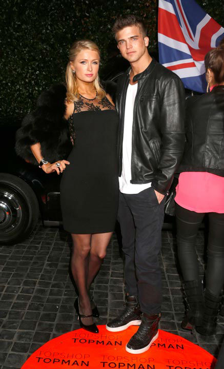 Paris Hilton and River Viiperi attend the Topshop Topman LA Opening Party At Cecconi's in Los Angeles, on Wednesday, Feb. 13, 2013 in Los Angeles.