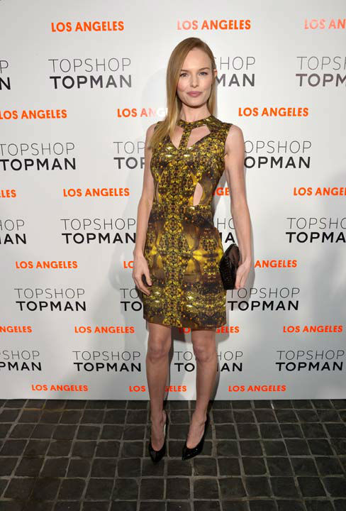 Actress Kate Bosworth arrives wearing Topshop at the Topshop Topman LA Opening Party at Cecconi's West Hollywood on February 13, 2013 in Los Angeles, California.