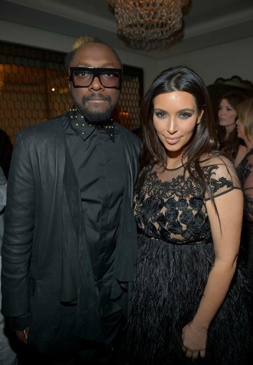 Singer Will.i.am and Kim Kardashian attend the Topshop Topman LA Opening Party at Cecconi&#39;s West Hollywood on February 13, 2013 in Los Angeles, California.  <span class=meta>(Getty Images for Topshop &#47;Charley Gallay)</span>