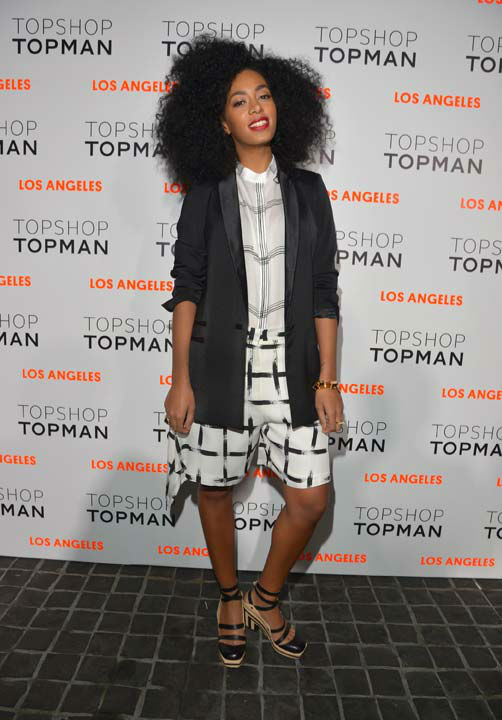 "<div class=""meta ""><span class=""caption-text "">Singer Solange Knowles arrives wearing Topshop at the Topshop Topman LA Opening Party at Cecconi's West Hollywood on February 13, 2013 in Los Angeles, California. (Getty Images for Topshop /Lester Cohen)</span></div>"