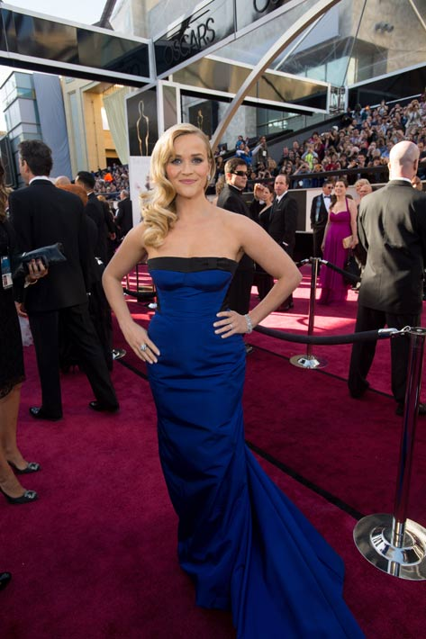 Reese Witherspoon arrives for the Oscars at the Dolby Theatre in Hollywood on February 24, 2013.