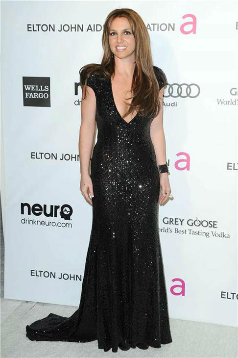 Britney Spears debuted chestnut brown hair at the 21st annual Elton John AIDS Foundation Academy Awards viewing party in Los Angeles California, on Feb. 24, 2013.  <span class=meta>(Kyle Rover &#47; startraksphoto.com)</span>