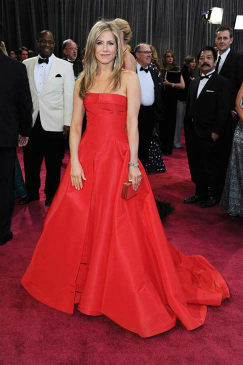 Jennifer Aniston appears at the 85th annual Academy Awards in Los Angeles, California on Feb. 24, 2013.