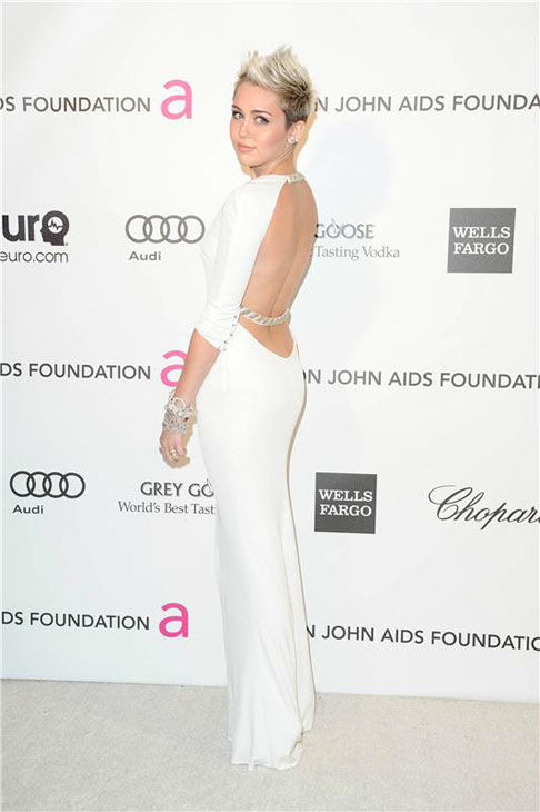 Miley Cyrus appears at the 21th annual Elton John AIDS Foundation Academy Awards viewing party in Los Angeles, California on Feb. 24, 2013.  <span class=meta>(Kyle Rover &#47; startraksphoto.com)</span>
