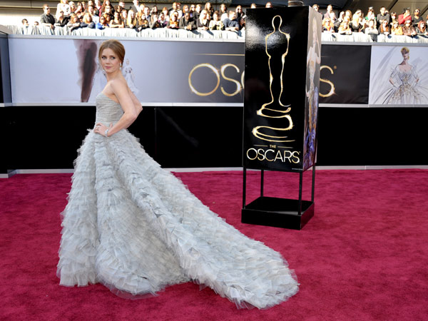 Amy Adams, nominated for best supporting actress for her role in 'The Master,' arrives at the 85th Academy Awards at the Dolby Theatre on Sunday Feb. 24, 2013, in Los Angeles.