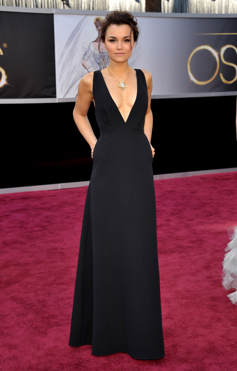 "<div class=""meta ""><span class=""caption-text "">Actress Samantha Barks arrives at the 85th Academy Awards at the Dolby Theatre on Sunday Feb. 24, 2013, in Los Angeles. (AP/John Shearer/Invision)</span></div>"