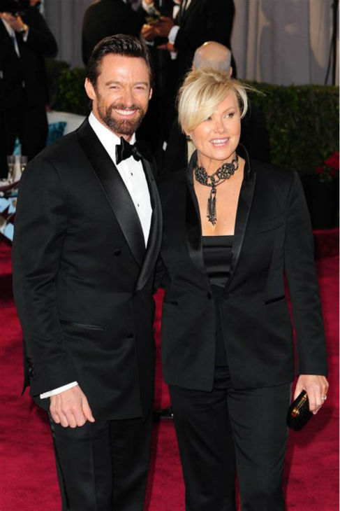 Hugh Jackman and wife Deborah Lee Furness appear at the 2013 Oscars in Los Angles on Feb. 24, 2013. The two wed in April 1996 and have a son and daughter. <span class=meta>(Kyle Rover &#47; Startraksphoto.com)</span>