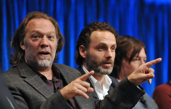 Photo of Greg Nictotero and Andrew Lincoln courtesy of Samsung Galaxy, during the Paley Center for Media&#39;s PaleyFest, honoring The Walking Dead, at the Saban Theatre, Friday March 1, 2013 in Los Angeles, California. <span class=meta>(Photo&#47;Kevin Parry for PaleyFest Media)</span>