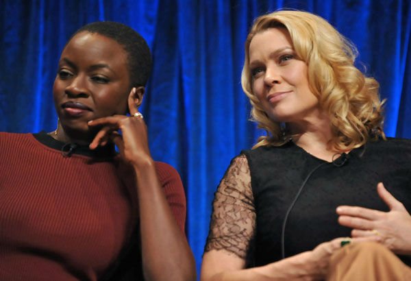 Photo of Danai Gurira and Laurie Holden courtesy of Samsung Galaxy, during the Paley Center for Media&#39;s PaleyFest, honoring The Walking Dead, at the Saban Theatre, Friday March 1, 2013 in Los Angeles, California. <span class=meta>(Photo&#47;Kevin Parry for PaleyFest Media)</span>