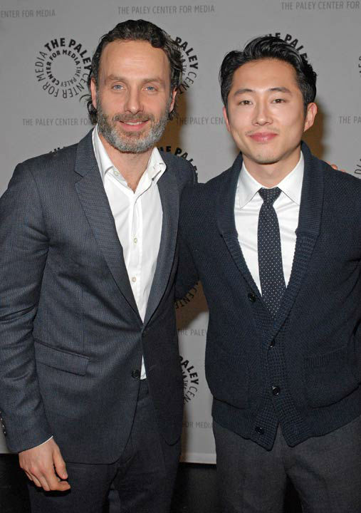 "<div class=""meta ""><span class=""caption-text "">Photo of Andrew Lincoln and Steven Yeun courtesy of Samsung Galaxy, during the Paley Center for Media's PaleyFest, honoring The Walking Dead, at the Saban Theatre, Friday March 1, 2013 in Los Angeles, California. (Photo/Kevin Parry for PaleyFest Media)</span></div>"