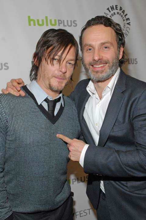 "<div class=""meta ""><span class=""caption-text "">Photo of Andrew Lincoln and Norman Reedus courtesy of Samsung Galaxy, during the Paley Center for Media's PaleyFest, honoring The Walking Dead, at the Saban Theatre, Friday March 1, 2013 in Los Angeles, California. (Photo/Kevin Parry for PaleyFest Media)</span></div>"