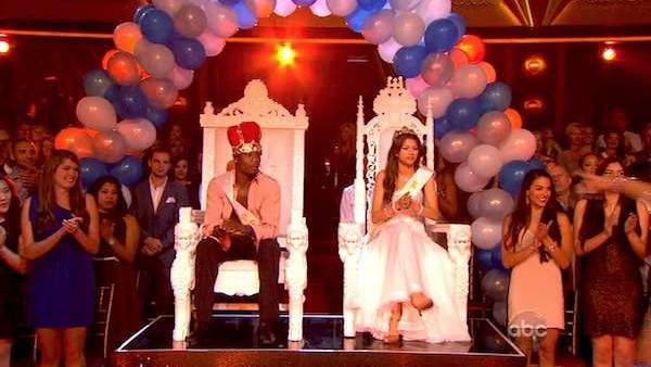 "<div class=""meta image-caption""><div class=""origin-logo origin-image ""><span></span></div><span class=""caption-text"">Zendaya Coleman and Jacoby Jones are named Prom Queen and King on the 2nd results show for 'Dancing With The Stars' season 16, which aired on April 2, 2013. (ABC)</span></div>"