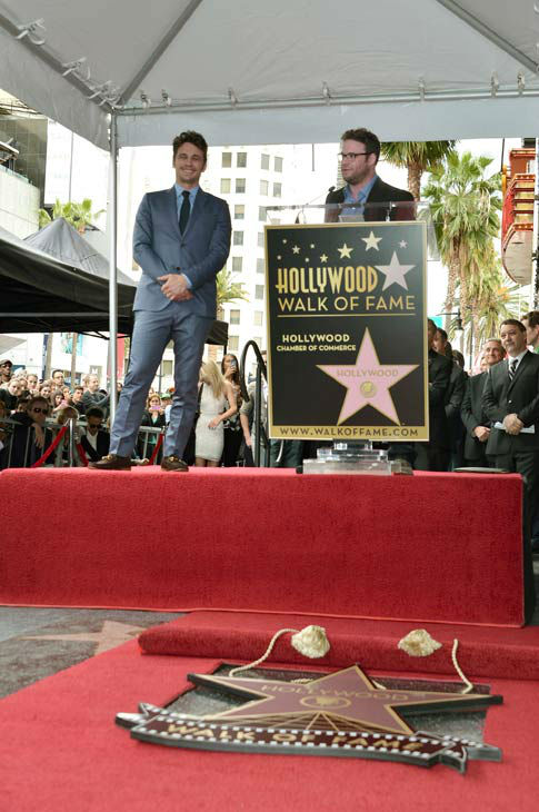 Actors James Franco &#40;L&#41; and Seth Rogen speak onstage during a ceremony honoring James Franco with a star on The Hollywood Walk of Fame on March 7, 2013 in Hollywood, California.  <span class=meta>(Photo&#47;Alberto E. Rodriguez)</span>