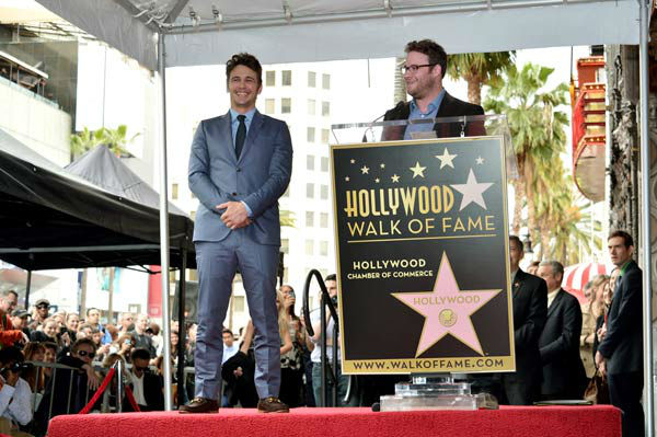 Actors James Franco &#40;L&#41; and Seth Rogen speak onstage during a ceremony honoring James Franco with a star on The Hollywood Walk of Fame on March 7, 2013 in Hollywood, California.  <span class=meta>(Alberto E. Rodriguez&#47;WireImage)</span>
