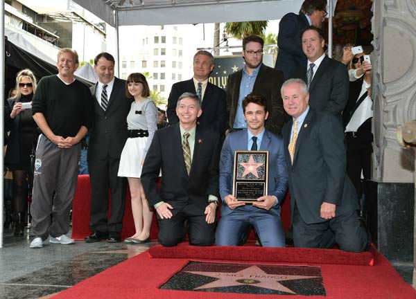 &#40;L-R&#41;: Producer Joe Roth, director Sam Raimi, actress Joey King, President &#38; CEO at Hollywood Chamber of Commerce Leron Gubler, WOF Chairman David Green, actors Seth Rogen, James Franco, councilman Tom LaBonge and Chamber of Commerce Chariman Christopher Barton attend a ceremony honoring James Franco with a star on The Hollywood Walk of Fame on March 7, 2013 in Hollywood, California. <span class=meta>(Alberto E. Rodriguez&#47;WireImage)</span>