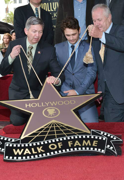 &#40;L-R&#41;  President &#38; CEO at Hollywood Chamber of Commerce Leron Gubler, actor James Franco and Councilmember Tom LaBonge attend a ceremony honoring James Franco with a star on The Hollywood Walk of Fame on March 7, 2013 in Hollywood, California.   <span class=meta>(Alberto E. Rodriguez&#47;WireImage)</span>