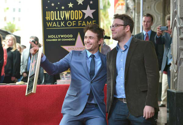 Actors James Franco (L) and Seth Rogen attend a ceremony honoring James Franco with a star on The Hollywood Walk of Fame on March 7, 2013 in Hollywood, California.