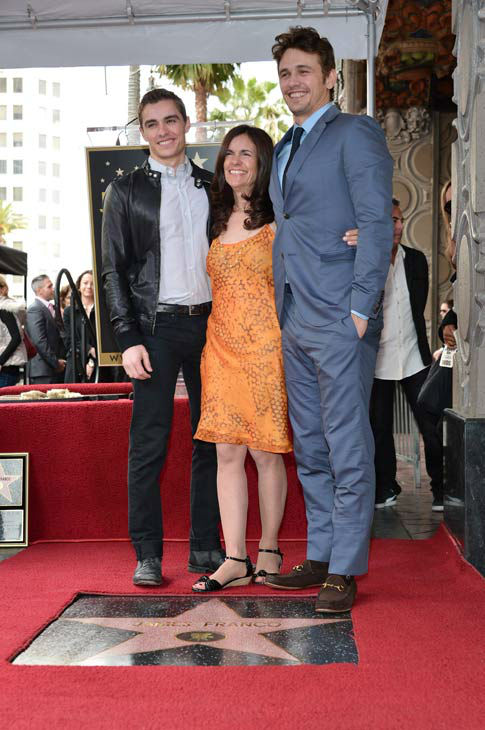 Actor James Franco (R), his brother Dave Franco (L) and his mother Betsy Franco (C) attend a ceremony honoring James Franco with a star on The Hollywood Walk of Fame on March 7, 2013 in Hollywood, California.