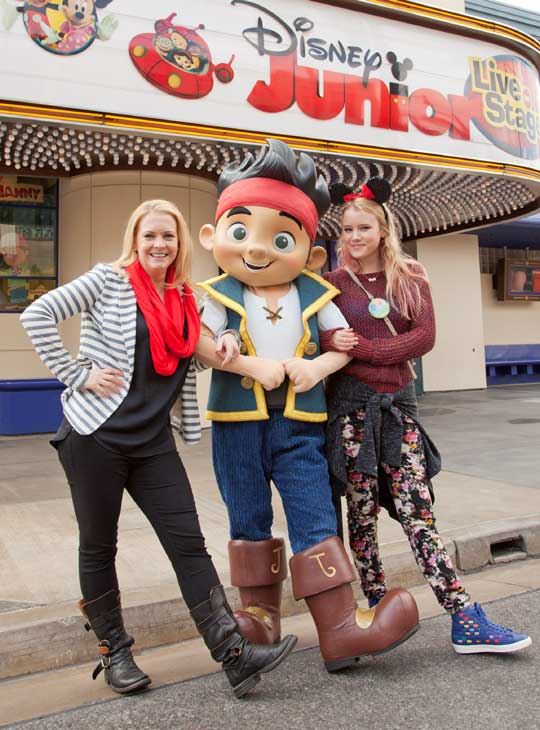 Actress Melissa Joan Hart and her 'Melissa & Joey' co-star, Taylor Spreitler, pose with Jake from 'Jake and the Never Land Pirates' outside 'Disney Junior -- Live On Stage!' at Disney California Adventure park in Anaheim, Calif., on Saturday, March 9.