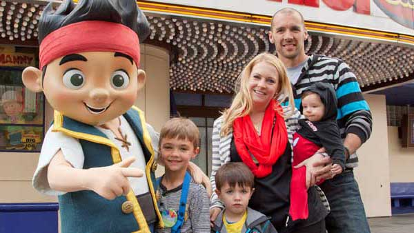 Actress Melissa Joan Hart, her husband, musician Mark Wilkerson, and their sons, Mason &#40;left&#41;, 7, Braydon, 5, and Tucker, 6-months,  pose with Jake from &#39;Jake and the Never Land Pirates&#39; outside &#39;Disney Junior -- Live On Stage!&#39; at Disney California Adventure park in Anaheim, Calif., on Saturday, March 9. The live show, based on popular Disney Junior television programs, returns on March 22 with all-new segments featuring &#39;Sofia the First&#39; and &#39;Doc McStuffins.&#39;  <span class=meta>(Scott Brinegar&#47;Disneyland)</span>