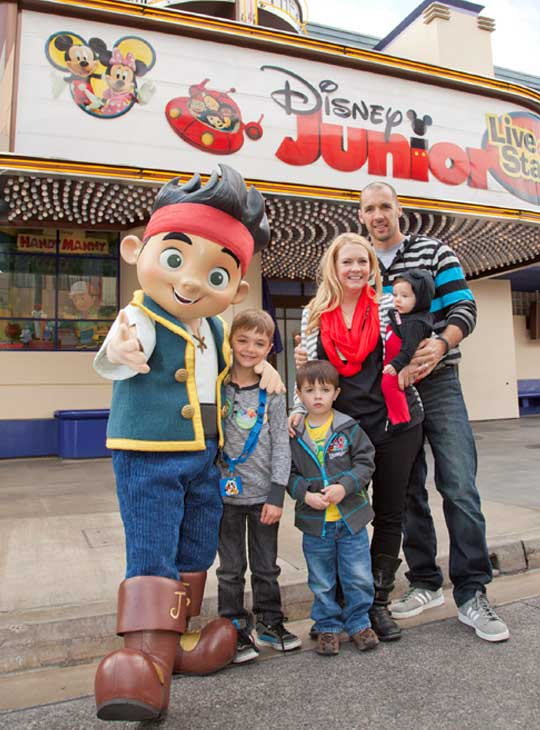 "<div class=""meta image-caption""><div class=""origin-logo origin-image ""><span></span></div><span class=""caption-text"">Actress Melissa Joan Hart, her husband, musician Mark Wilkerson, and their sons, Mason (left), 7, Braydon, 5, and Tucker, 6-months,  pose with Jake from 'Jake and the Never Land Pirates' outside 'Disney Junior -- Live On Stage!' at Disney California Adventure park in Anaheim, Calif., on Saturday, March 9. The live show, based on popular Disney Junior television programs, returns on March 22 with all-new segments featuring 'Sofia the First' and 'Doc McStuffins.'  (Scott Brinegar/Disneyland)</span></div>"
