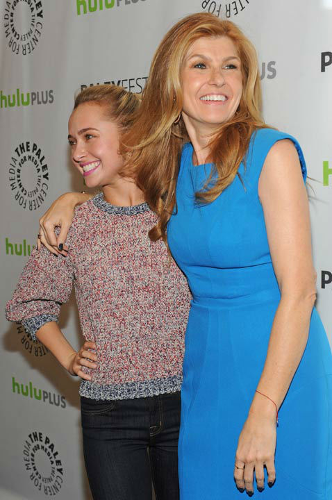 Photo of Connie Britton and Hayden Panettiere during the Paley Center for Media's PaleyFest, honoring the cast of 'Nashville' at the Saban Theatre, Saturday March 9, 2013 in Los Angeles, California.