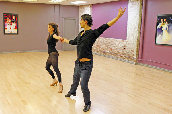 'Dancing With The Stars' season 16 cast members Lisa Vanderpump and partner Gleb Savchenko rehearse ahead of the pr