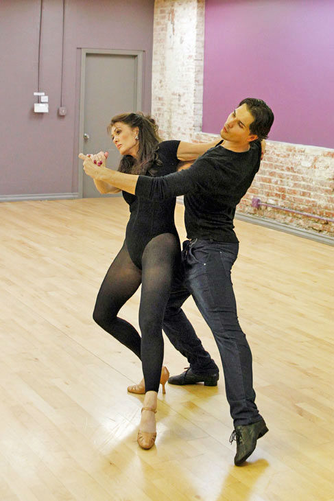 'Dancing With The Stars' season 16 cast members Lisa Vanderpump and partner Gleb Savchenko rehearse ahead of the p