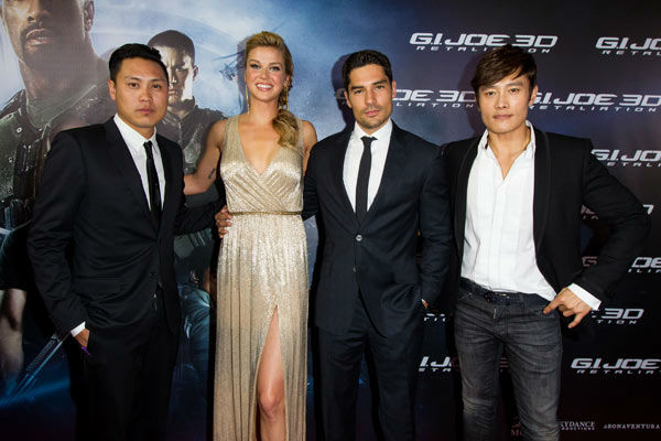 "<div class=""meta image-caption""><div class=""origin-logo origin-image ""><span></span></div><span class=""caption-text"">Jon M. Chu, Adrianne Palicki, DJ Cotrona and Byung-Hun Lee arrive to the 'G.I.Joe: Retaliation' Australian premiere at Event Cinemas George Street on March 14, 2013 in Sydney, Australia. (Caroline McCredie / Getty Images for Paramount Pictures)</span></div>"