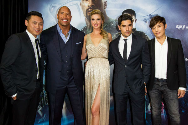Jon M. Chu, ?Dwayne Johnson,?Adrianne Palicki,?DJ Cotrona and?Byung-Hun Lee arrive at &#39;G.I.Joe: Retaliation&#39; Australian premiere at Event Cinemas George Street on March 14, 2013 in Sydney, Australia. <span class=meta>(Caroline McCredie &#47; Getty Images for Paramount Pictures)</span>