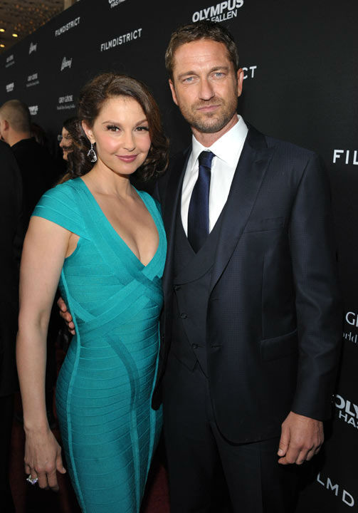 "<div class=""meta ""><span class=""caption-text "">Ashley Judd and Gerard Butler pose at the LA premiere of 'Olympus Has Fallen' at the ArcLight Theatre on Monday, March 18, 2013 in Los Angeles. (Photo/John Shearer)</span></div>"