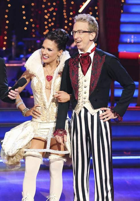 "<div class=""meta ""><span class=""caption-text "">Actor and comedian Andy Dick and his partner Sharna Burgess received 20 out of 30 points from the judges for their Jazz routine on week 2 of 'Dancing With The Stars,' which aired on March 25, 2013. They received a total of 37 out of 60 points for the past two weeks of performances. (ABC Photo / Adam Taylor)</span></div>"