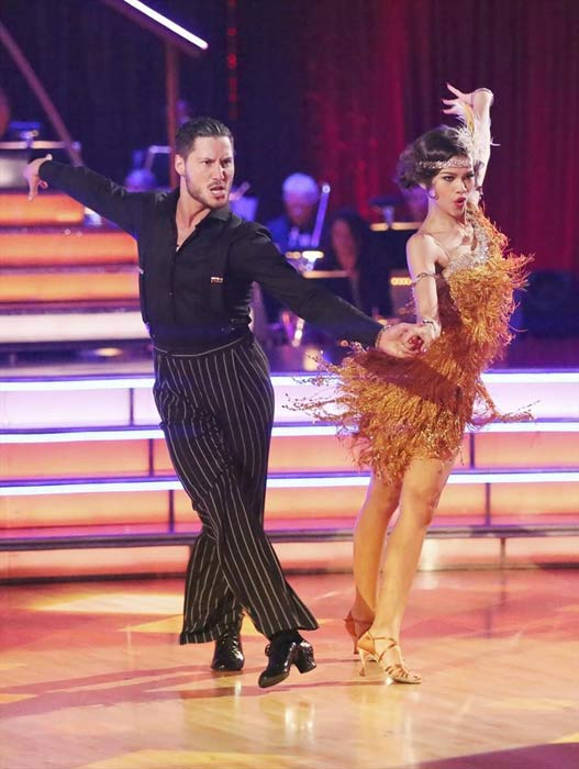 &#39;Shake It Up&#39; actress Zendaya Coleman and her partner Val Chmerkovskiy received 26 out of 30 points from the judges for their Jive routine on week 2 of &#39;Dancing With The Stars,&#39; which aired on March 25, 2013. They received a total of 50 out of 60 points for the past two weeks of performances.  <span class=meta>(ABC Photo)</span>