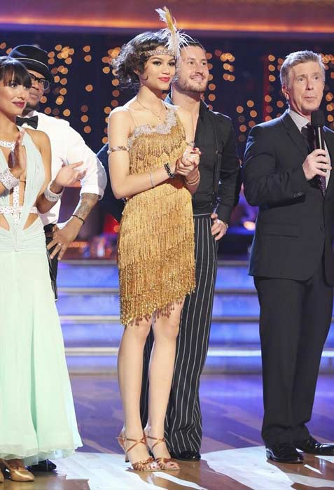 "<div class=""meta ""><span class=""caption-text "">'Shake It Up' actress Zendaya Coleman and her partner Val Chmerkovskiy prepare to dance on week 2 of 'Dancing With The Stars,' which aired on March 25, 2013. (ABC Photo / Adam Taylor)</span></div>"