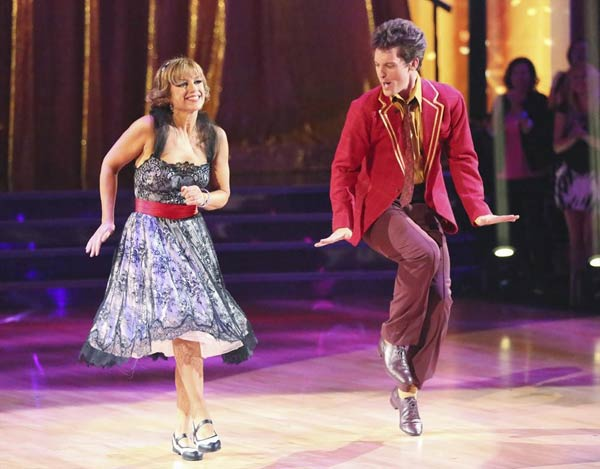 "<div class=""meta ""><span class=""caption-text "">Olympic figure skater Dorothy Hamill and her partner Tristan Macmanus received 15 out of 30 points from the judges for their Jive routine on week 2 of 'Dancing With The Stars,' which aired on March 25, 2013. They received a total of 36 out of 60 points for the past two weeks of performances. (ABC Photo)</span></div>"