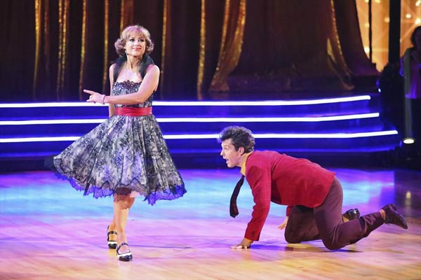 Olympic figure skater Dorothy Hamill and her partner Tristan Macmanus received 15 out of 30 points from the judges for their Jive routine on week 2 of &#39;Dancing With The Stars,&#39; which aired on March 25, 2013. They received a total of 36 out of 60 points for the past two weeks of performances. <span class=meta>(ABC Photo)</span>