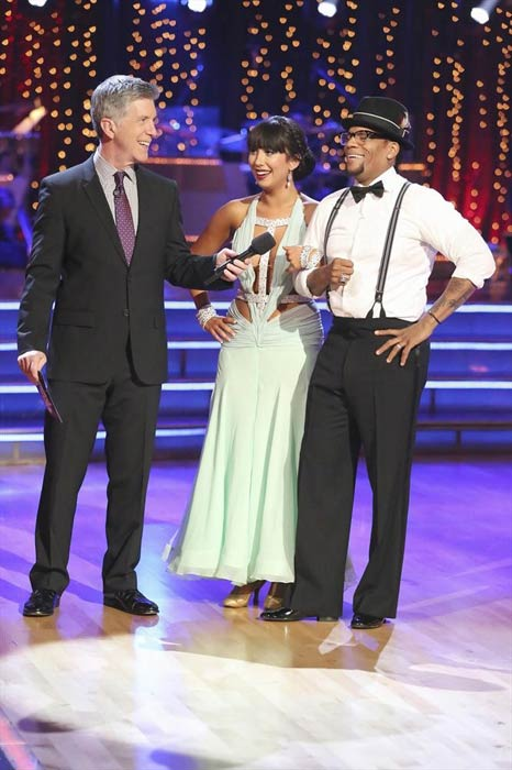 Actor and comedian D.L. Hughley and his partner Cheryl Burke received 16 out of 30 points from the judges for their Quickstep routine on week 2 of &#39;Dancing With The Stars,&#39; which aired on March 25, 2013. They received a total of 28 out of 60 points for the past two weeks of performances. <span class=meta>(ABC Photo)</span>