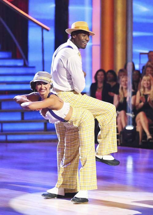 "<div class=""meta image-caption""><div class=""origin-logo origin-image ""><span></span></div><span class=""caption-text"">NFL star Jacoby Jones and his partner Karina Smirnoff received 23 out of 30 points from the judges for their Jazz routine on week 2 of 'Dancing With The Stars,' which aired on March 25, 2013. They received a total of 43 out of 60 points for the past two weeks of performances. (ABC Photo / Adam Taylor)</span></div>"