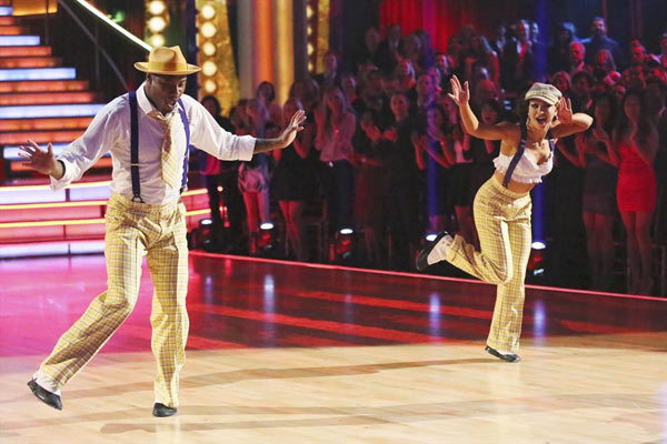 NFL star Jacoby Jones and his partner Karina Smirnoff dance on week 2 of 'Dancing With The Stars,' which aired on March 25, 2013.