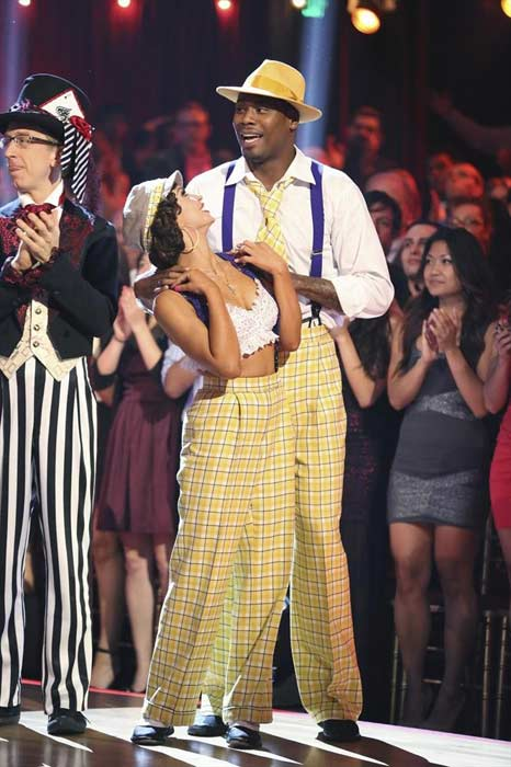 NFL star Jacoby Jones and his partner Karina Smirnoff prepare to dance on week 2 of &#39;Dancing With The Stars,&#39; which aired on March 25, 2013. <span class=meta>(ABC Photo &#47; Adam Taylor)</span>